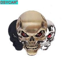 DSYCAR 1Pcs di Modo 3D Del Cranio In Lega di Zinco del Metallo Autoadesivo Dell'automobile per Auto Moto Logo Del Cranio Distintivo Dell'emblema Car Styling adesivi Nuovo