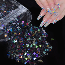 1 Pack Butterfly Shape Nail Art Decorations Holografische Ab Kleur Nail Glitter Pailletten Vlokken Paillette Stickers Voor Nagels Ontwerp(China)