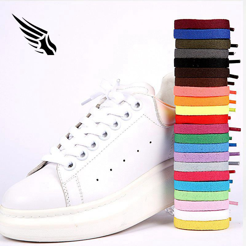 8mm Wide Flat Shoelace Shoe Lace Shoestrings For Sneakers Sport Shoes 24 Colors