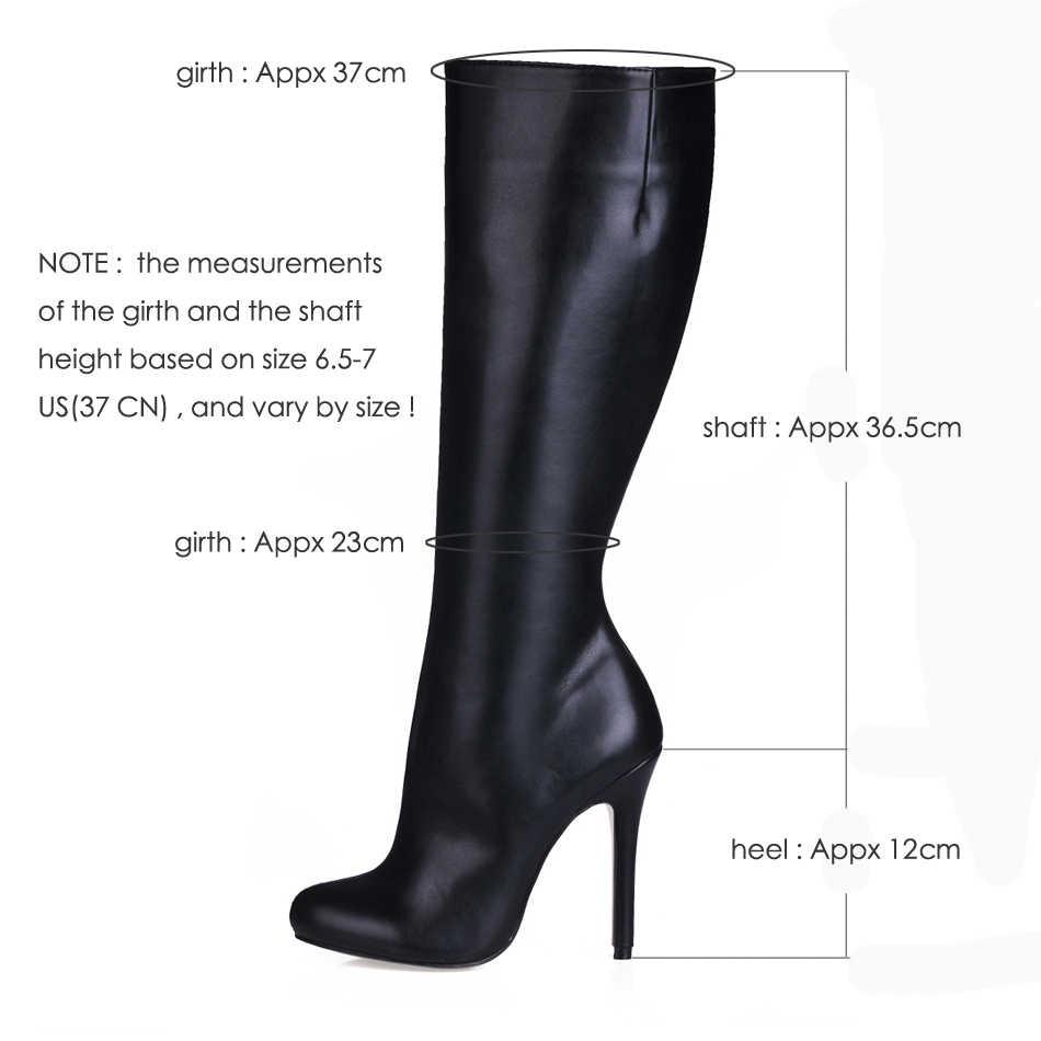 Fashion Vrouwen Stiletto Dunne Hoge Hak Knie-Hoge Laarzen Ronde Neus Zwart Pu Avond Party Carrière Lady Office Lange laarzen 3cbt-b11