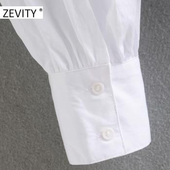 ZEVITY women sweet peter pan collar lace stitching casual poplin blouse shirts women puff sleeve white chemise chic tops LS7201 5