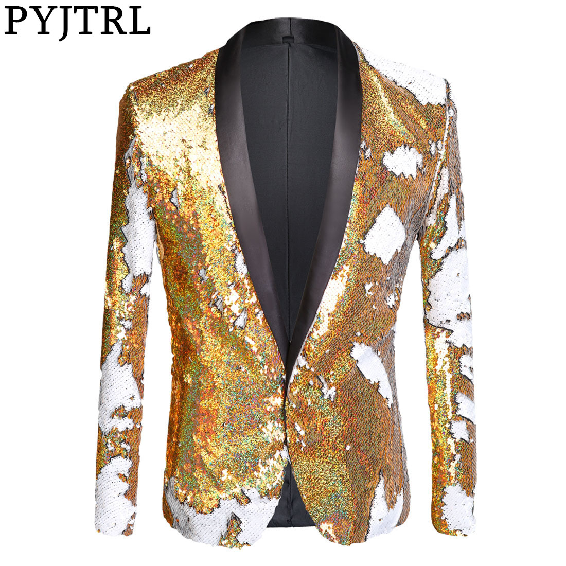 PYJTRL Full Sequins Series Men Double-Color Gold White Sequins Blazer Fashion Punk Nightclub Bar DJ Singers Suit Jacket Costumes