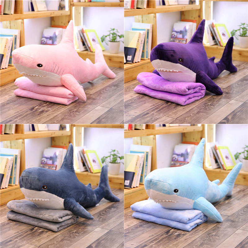 100cm Big Size Funny Soft Bite Shark Plush Toy Pillow With Flannel Blanket Appease Cushion Gift For Children Multifunctional Toy