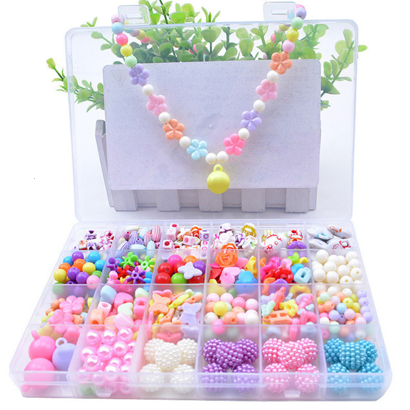 24 Grid Girl Jewelry Making Toys Educational Toys Children Gift DIY Handmade Beads Toys With Storage Box Accessory Set Children