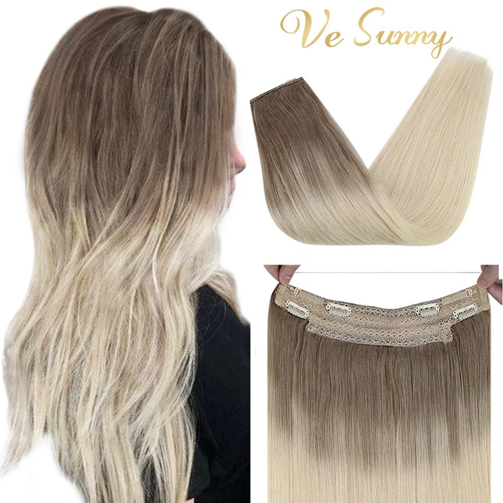 VeSunny Straight Halo Real Hair Extensions Human Hair Blonde Remy Halo Hair Extensions Fishing Wire with 2 Clips #Ba14/60