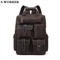 2020 Brand Crazy Horse Leather Backpack for Men 16 inch Laptop Daypack Thick Cowhide School Bag Large Capacity Travel Rucksack