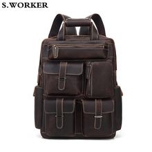 2020 Brand Crazy Horse Leather Backpack for Men 16 inch Laptop