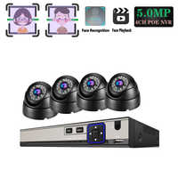 Plug and play POE NVR 4CH Xmeye CCTV Face Identify System 5MP In/Outdoor POE IP Camera IR Day/Night Security Surveillance Kits