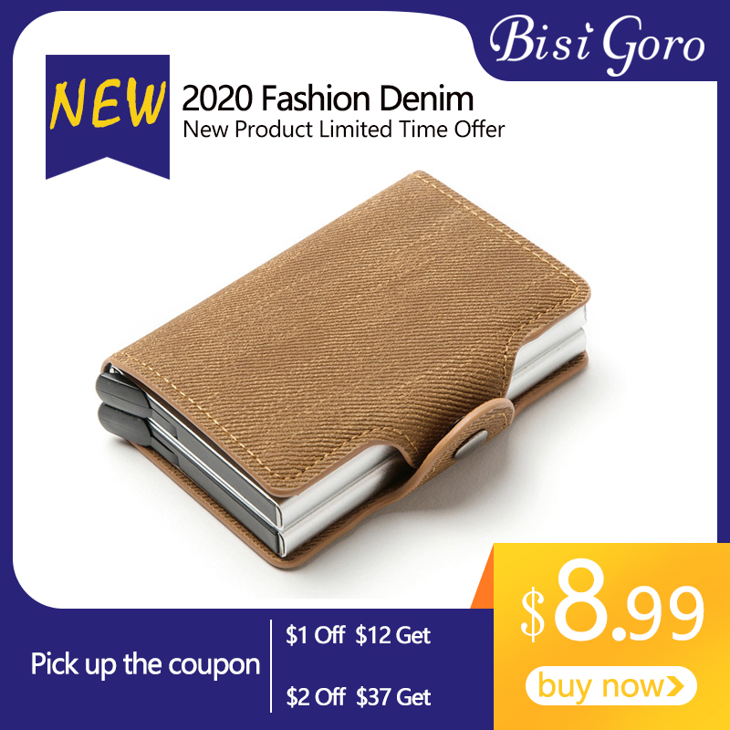 BISI GORO 2020 New Card Holder RFID Blocking Anti-theft Double Boxes High Quality Card Wallet Denim Fashion Pop-up Metal ID Case