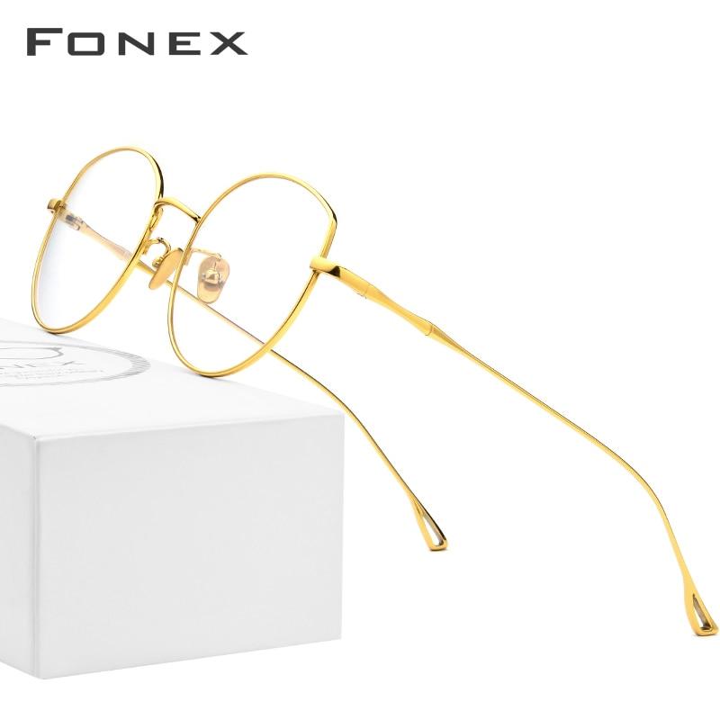FONEX Pure B Titanium Glasses Frame Women Ultralight Prescription Eyeglasses Men Cat Eye Spectacles Myopia Optical Frame 868