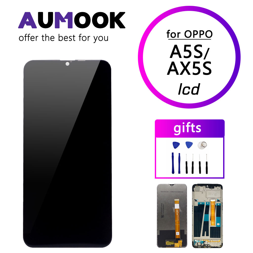 Lcd display for oppo a5s ax5s screen full assembly digitizer screen with frame for a7 ax7 lcd display repair replacement