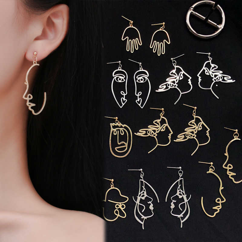 New ZN Punk Human Face Drop Earrings Retro Abstract Hollow out Statement Hand Metal Dangle Earring Jewelry For Women