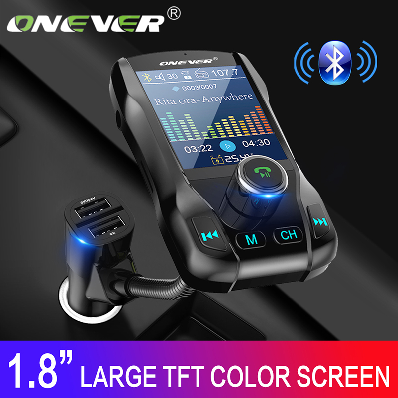 Onever Farbe Screen FM Transmitter Drahtlose Bluetooth Car Kit 360 drehbare Auto MP3 Audio mit 5V 3.1A Dual USB Ladung