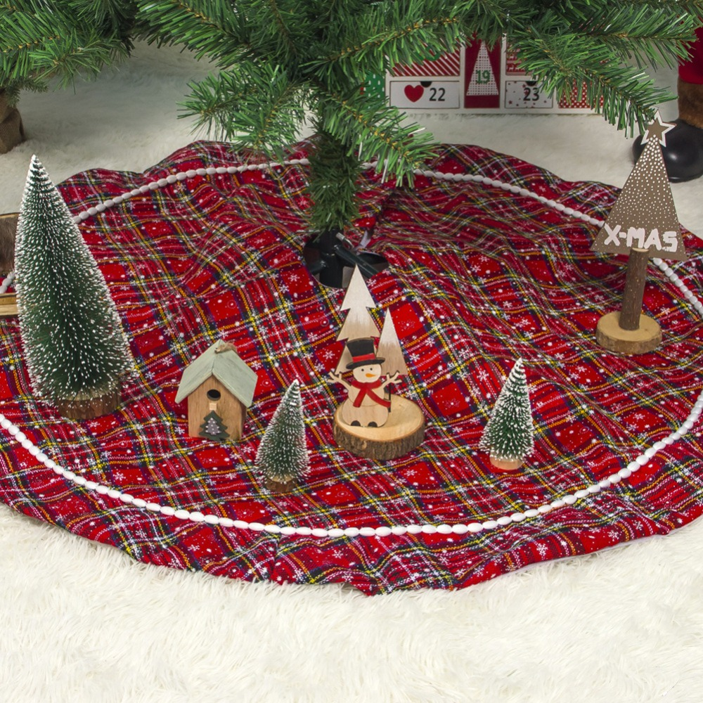 Red Cropr 40 inch Christmas Tree Skirt for Christmas Holiday Party Decoration
