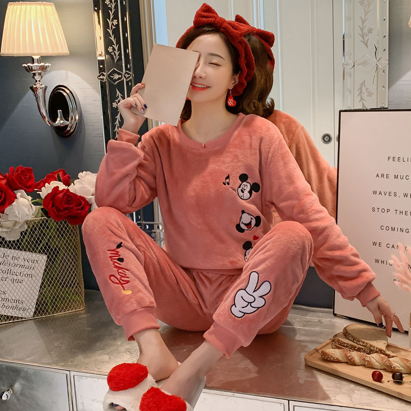Korean Cute Mickey Pjs Women Pajamas Suits Winter Home Clothes Velvet Coral Pyjamas Plus Size Warm Flannel Pijama Mujer Set