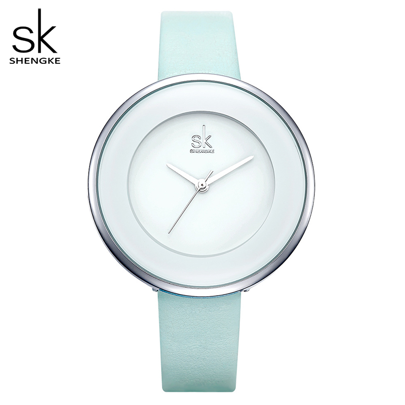 Shengke Brand Women Luxury Watches Female White Leather Wristwatch Mixmatch Dress Quartz Clock Ultra Thin Relogio Feminino 2018