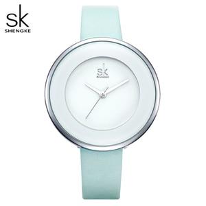 Image 1 - Shengke Brand Women Luxury Watches Female White Leather Wristwatch Mixmatch Dress Quartz Clock Ultra Thin Relogio Feminino 2020