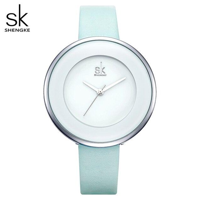 Shengke Brand Women Luxury Watches Female White Leather Wristwatch Mixmatch Dress Quartz Clock Ultra Thin Relogio Feminino 2020