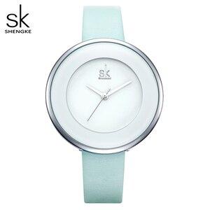 Image 1 - Shengke Marke Frauen Luxus Uhren Weibliche Weiße Leder Armbanduhr Mixmatch Kleid Quarzuhr Ultra Dünne Relogio Feminino 2020