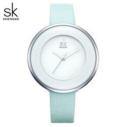 Shengke marca feminina relógios de luxo feminino couro branco relógio de pulso vestido mixmatch relógio quartzo ultra fino relogio feminino 2018