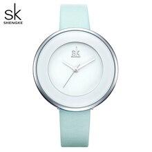 Shengke marka luksusowe zegarki damskie kobieta biały zegarek z paskiem skórzanym Mixmatch sukienka kwarcowy zegar Ultra cienki Relogio Feminino 2020