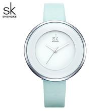 Shengke relojes de lujo para mujer, reloj de pulsera femenino de cuero blanco, de cuarzo con vestido combinado, Ultra delgado, 2020