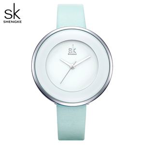 Image 1 - Shengke relojes de lujo para mujer, reloj de pulsera femenino de cuero blanco, de cuarzo con vestido combinado, Ultra delgado, 2020