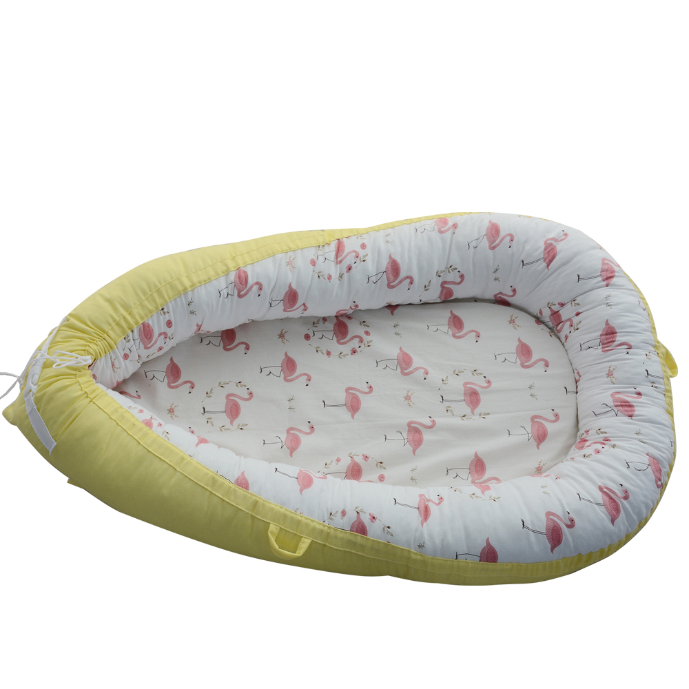 Bébé nid partage Co couchages bébé couffin-100% coton doux couchages bébé lit Premium qualité et BiggerSize (0-24 mois)-respirant & hypoallergénique PortableCrib (jaune)