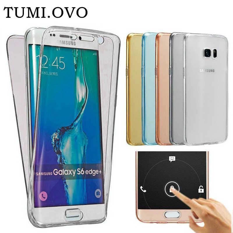 Para Samsung Galaxy A3 A5 A7 2016 2017 J1 J2 J3 J5 J7 S8 S7 S6 Borda Mais Grande Prime Prime TPU Macio 360 Tampa Do Caso de Corpo Inteiro