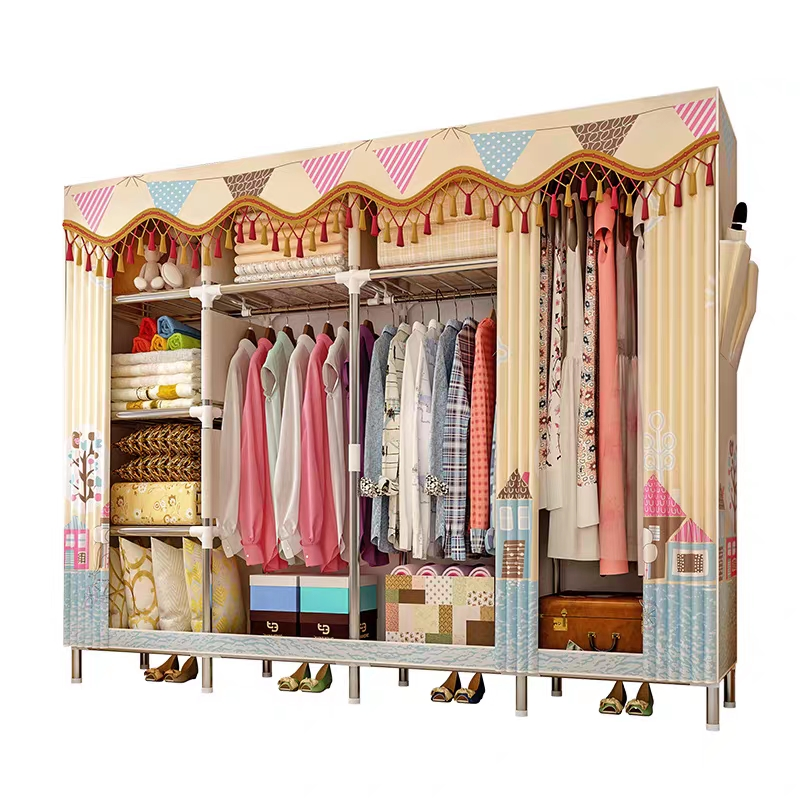Cloth Wardrobe For clothes Fabric Folding Portable font b Closet b font Storage Cabinet Bedroom Home