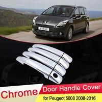 Para Peugeot 5008 2008 2009 2010 2011 2012 2013 2014 2015 2016 Luxuriou Chrome Door Handle Guarnição da Tampa do Conjunto Carro Styling Acessórios|Adesivos para carro| |  -