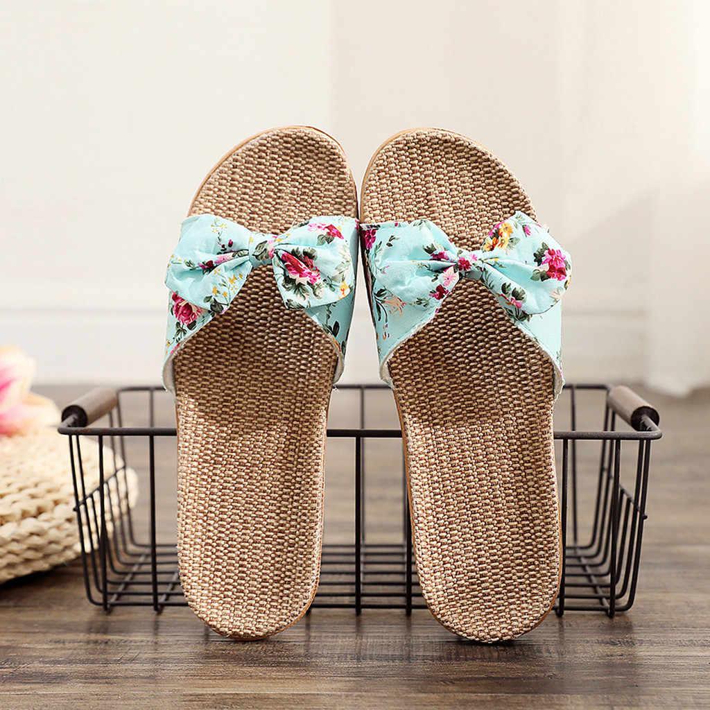 Kadın terlik yaz rahat slaytlar plaj ayakkabısı bayan kapalı ayakkabı ev keten terlik çiçek yay-düğüm Flip flop E3