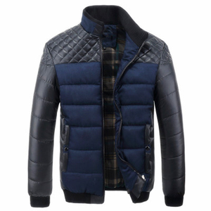 Image 5 - Covrlge Men Casual Parka Padded 2019 Winter Jacket Mens Warm PU Leather Patchwork Color Stand Collar Zipper Thick Coat MWM079