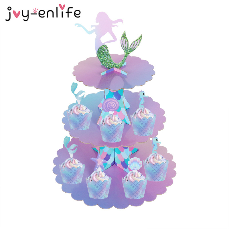 Mermaid Party 3-tier Paper Cake Stand Baby Shower Girl 1st Birthday Party Decoration Cupcake Stand Under The Sea Wedding Decor