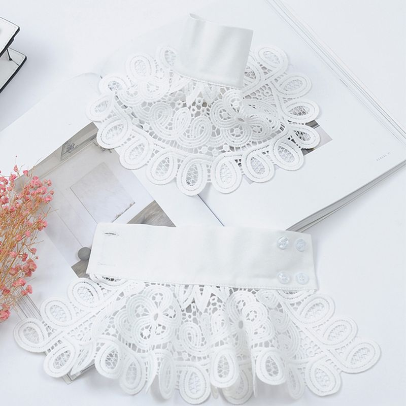 Korean Vintage Detachable Flare Sleeve Fake Cuffs Hollow Out Embroidery Floral Lace Lolita Knitted Sweater Decorative Wristband