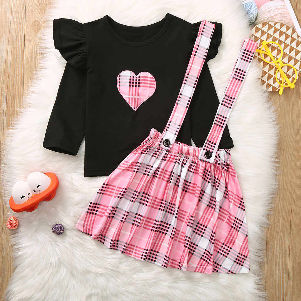 Toddler Baby Girls Valentine/'s Day Outfit Ruffle Long Sleeve Shirt Tops Heart Print Suspender Skirt 2Pcs Set