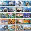 40x50cm Malen Nach Zahlen Schiff Digitale Malerei Landschaft Boot Auf Cavans Rahmenlose DIY bilder durch zahlen