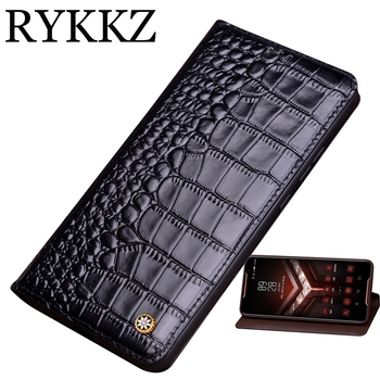 Genuine Leather Flip Case For ASUS ROG Phone ZS600KL Cover Magnetic case For ROG Phone 2 Cases Leather Cover Phone Cases Fundas