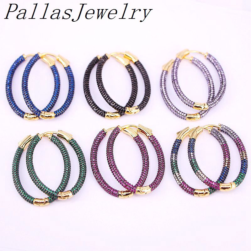 3Pairs, Gold Color Earring Multicolor Cubic Zircon Micro Paved Full CZ Hoop Earrings For Women Jewelry