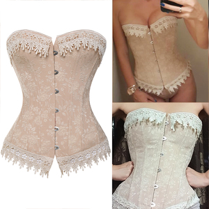 Image 1 - Lace Up Corsets Bustiers Overbust Waist Trainer Embroidery Sexy Boned White Beige Corset Burlesque Costumes Corselet Halloween