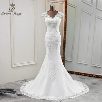 Elegant new wedding dress marriage V-neck gowns beautiful bride applique mermaid vestido novia