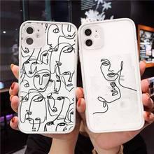 مضحك مجردة النساء خط الوجه الحالات الهاتف ماتي شفافة آيفون 7 8 11 12 plus mini x xs xr برو ماكس غطاء