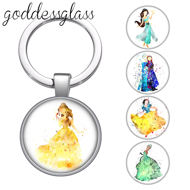 Disney Princesses Belle Elsa Snow white Alice glass cabochon keychain Bag Car key chain Ring Holder Charms keychains gift