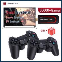 Super console x vara mini/tv consolas de jogos de vídeo saída wifi hd para jogos psp/n64/dc para xbox gamepad embutido 50000 + jogos