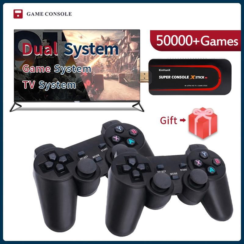 Super console x vara mini/tv consolas de jogos de vídeo wi-fi saída hdmi para jogos psp/n64/dc para xbox gamepad embutido 50000 + jogos