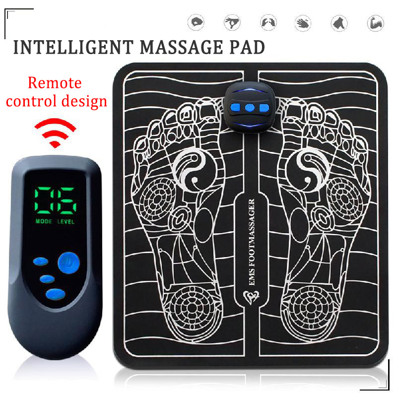 USB Charging Electric Intelligent EMS Foot Massage Pulse Acupuncture Improve Blood Circulation Relieve Ache Pain Health Care