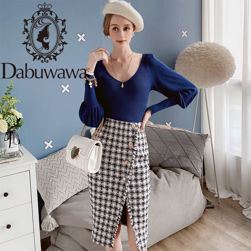 Dabuwawa Elegant Asymmetrical Split Plaid Skirts Women Autumn Winter Sexy Button Frayed Edge High Waist Skirt Ladies DT1CSK005