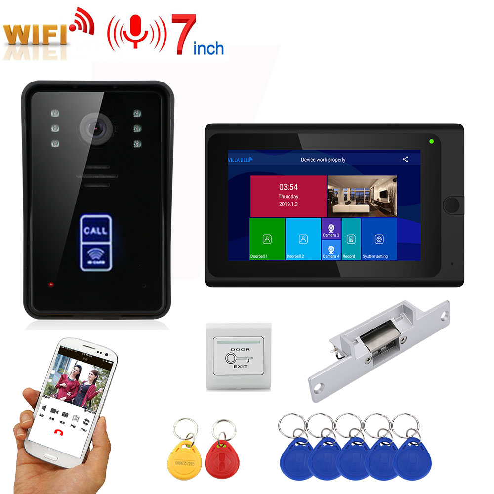 7inch  Record Wireless Wifi RFID Video Door Phone Doorbell Intercom Entry System With NO Electric Strike Door Lock