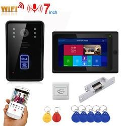 7 cal rekord bezprzewodowy Wifi RFID wideo telefon drzwi intercom system wprowadzania bez elektryczne strajk zamka drzwi