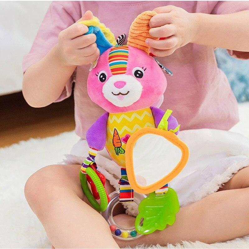OLOEY Baby Newborn Crib Stroller Hanging Bells Toys Teether Doll Baby Rattle Plush Early Education Boy Girl Animal Rabbit Toy